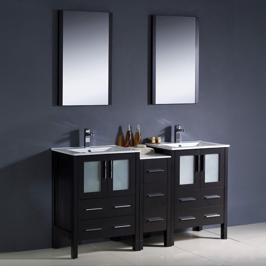 Fresca Bari Espresso Undermount Double Sink Bathroom Vanity with Ceramic Top (Common: 60-in x 18-in; Actual: 60-in x 18.13-in)