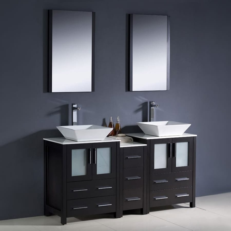 Fresca Bari Espresso (Common: 60-in x 18-in) Vessel Double Sink Bathroom Vanity with Ceramic Top (Faucet and Mirror Included) (Actual: 60-in x 18.13-in)
