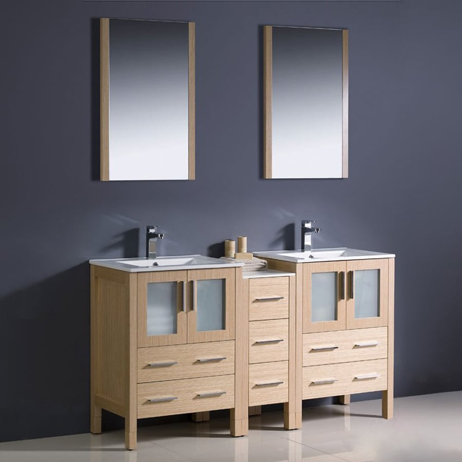 Fresca Bari Light Oak Undermount Double Sink Bathroom Vanity with Ceramic Top (Common: 60-in x 18-in; Actual: 60-in x 18.13-in)