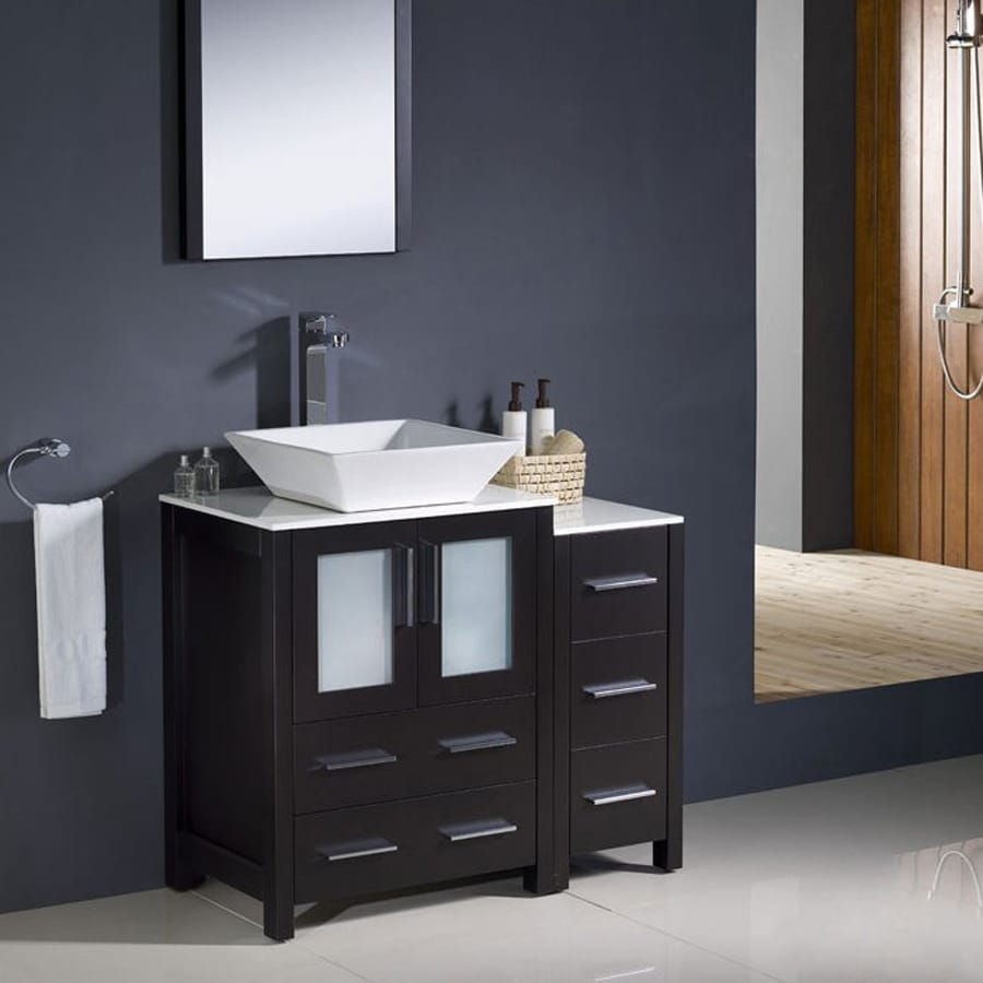Fresca Bari Espresso (Common: 36-in x 18-in) Vessel Single Sink Bathroom Vanity with Ceramic Top (Faucet and Mirror Included) (Actual: 36-in x 18.13-in)