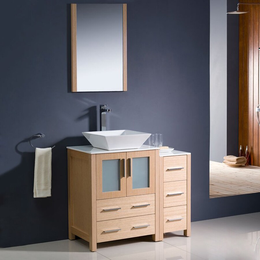 Fresca Bari Light Oak (Common: 36-in x 18-in) Vessel Single Sink Bathroom Vanity with Ceramic Top (Faucet and Mirror Included) (Actual: 36-in x 18.13-in)
