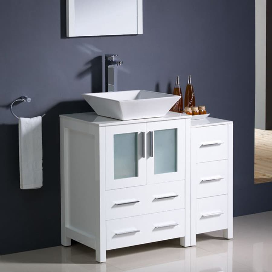Fresca Bari White Single Vessel Sink Bathroom Vanity With Ceramic Top Common 36