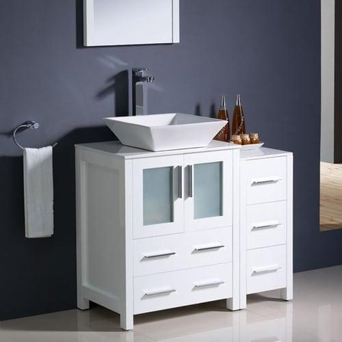 fresca torino white single sink vanity with white ceramic