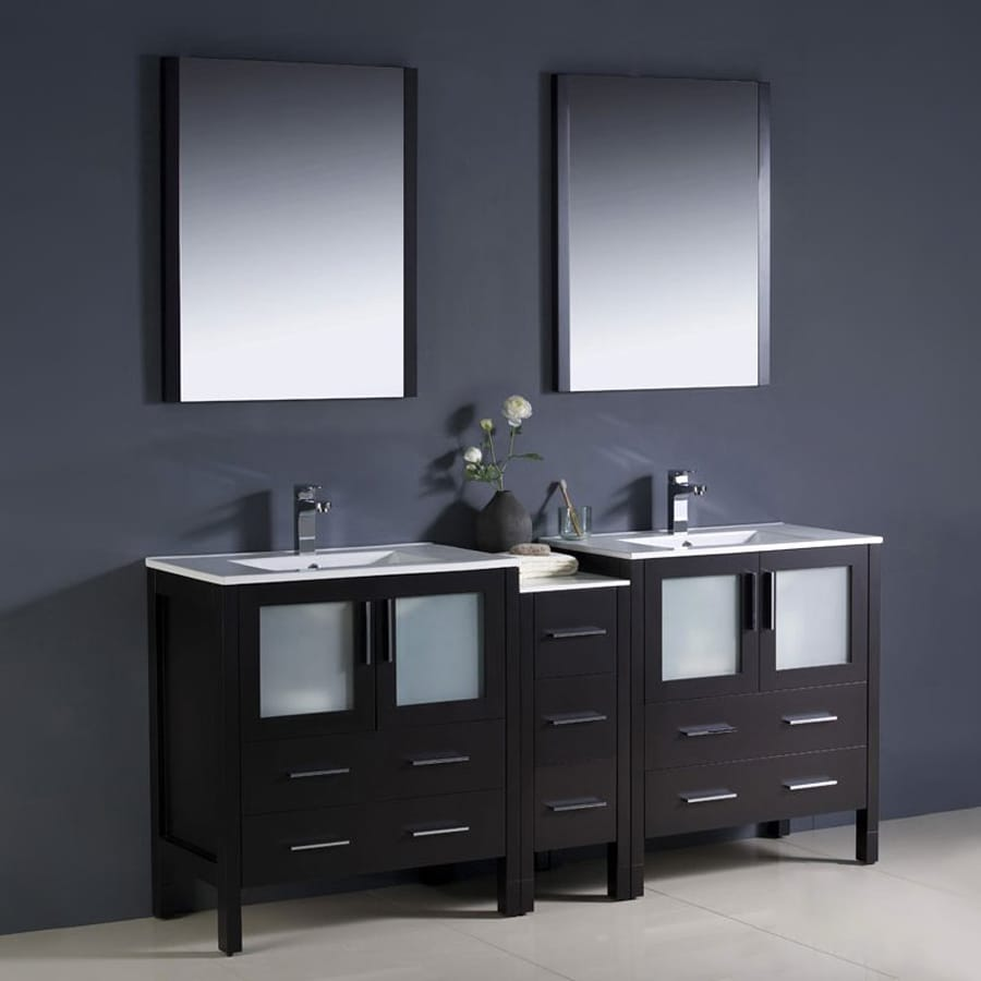 Fresca Bari Espresso 72-in Undermount Double Sink Bathroom Vanity with Ceramic Top (Faucet and Mirror Included)