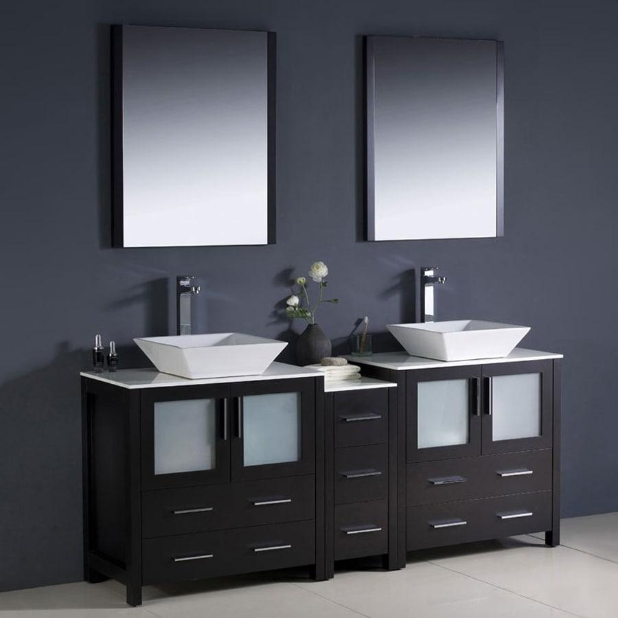 Fresca Bari Espresso 72-in Vessel Double Sink Bathroom Vanity with Ceramic Top (Faucet and Mirror Included)