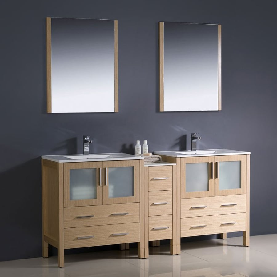 Fresca Bari Light Oak Undermount Double Sink Bathroom Vanity with Ceramic Top (Common: 72-in x 18-in; Actual: 72-in x 18.13-in)