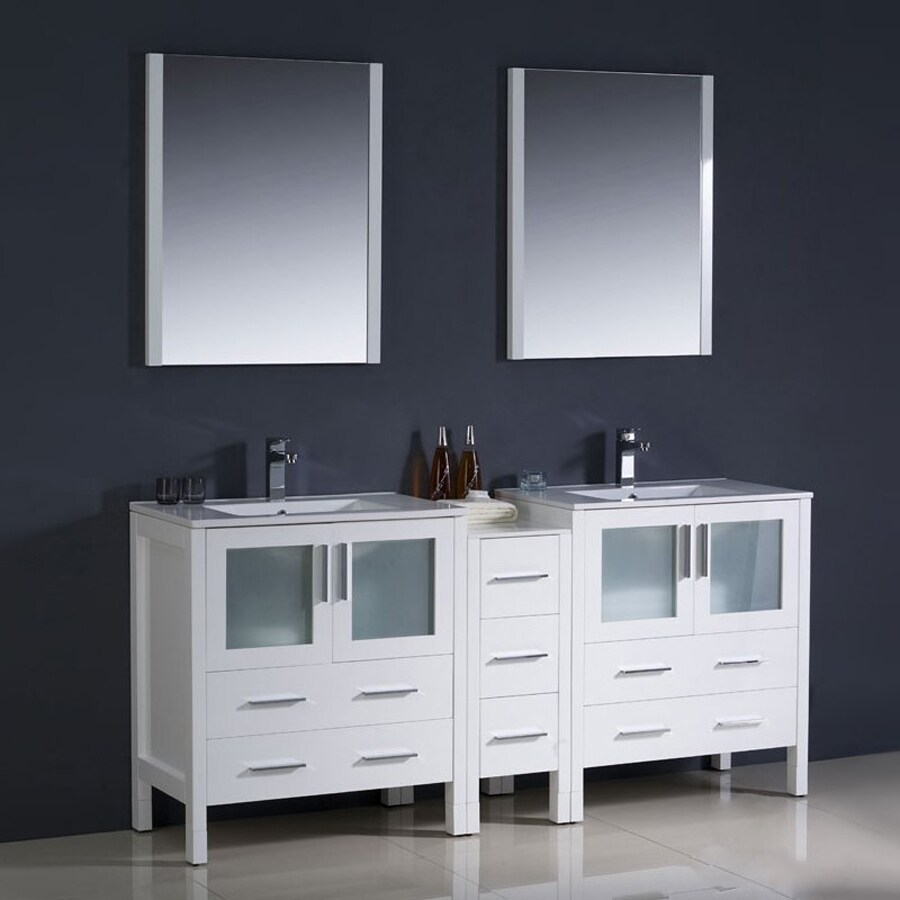 Shop Fresca Torino White Double Sink Vanity with White Ceramic Top ...