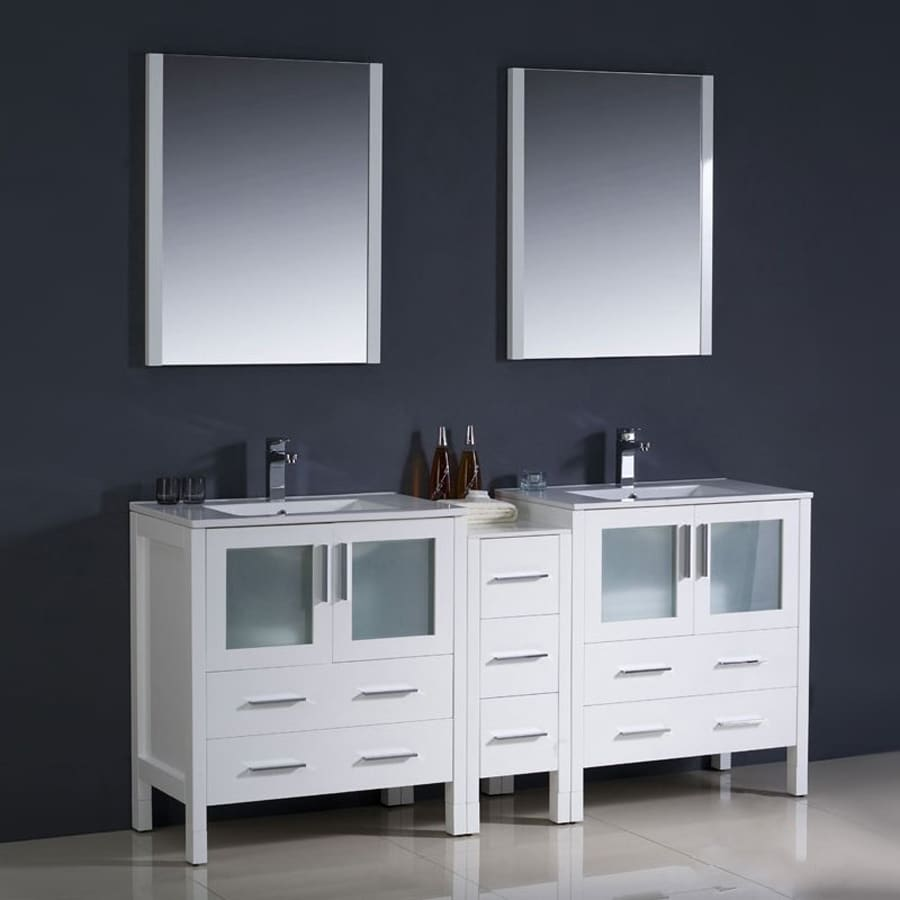 Fresca Bari White 72-in Undermount Double Sink Bathroom Vanity with Ceramic Top (Faucet and Mirror Included)