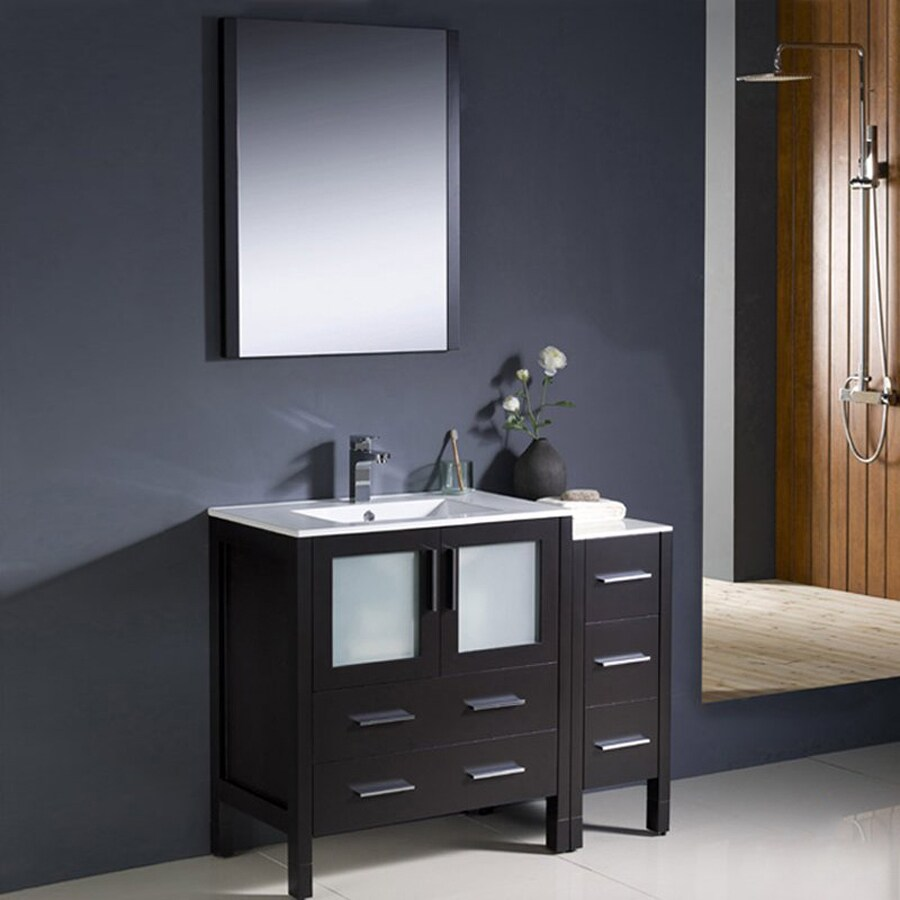 Fresca Bari Espresso (Common: 42-in x 18-in) Undermount Single Sink Bathroom Vanity with Ceramic Top (Faucet and Mirror Included) (Actual: 42-in x 18.13-in)