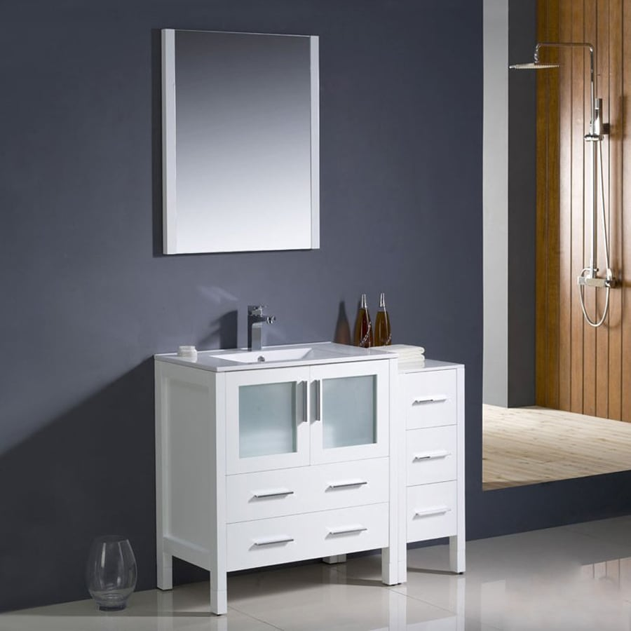 Fresca Bari White 42-in Undermount Single Sink Bathroom Vanity with Ceramic Top (Faucet and Mirror Included)