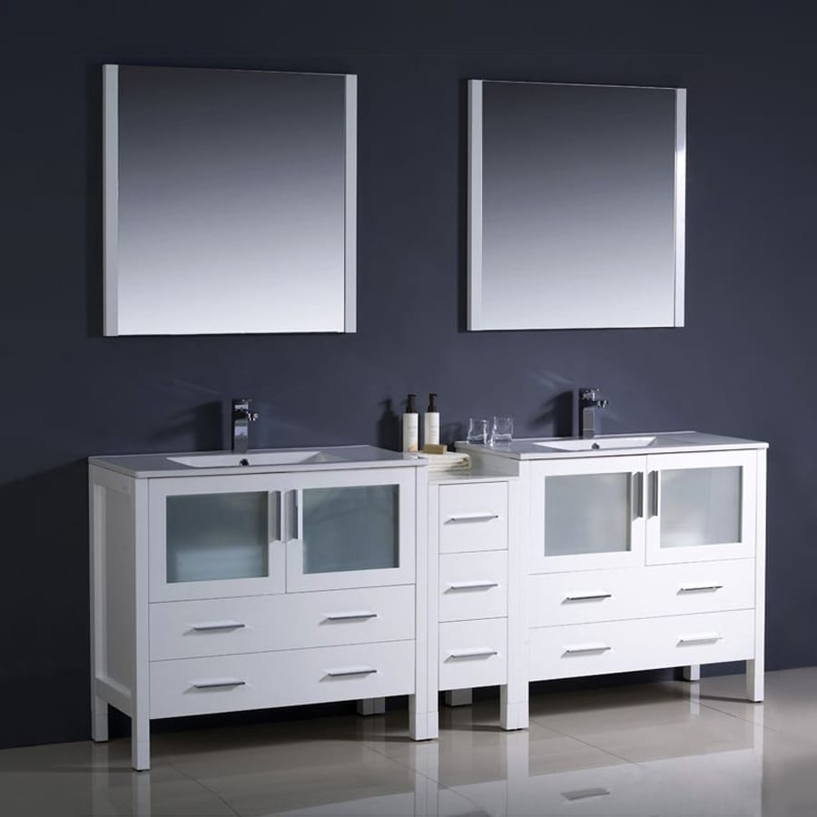 Fresca Bari White Undermount Double Sink Bathroom Vanity with Top (Common: 34-in x 18-in; Actual: 83.5-in x 18.13-in)