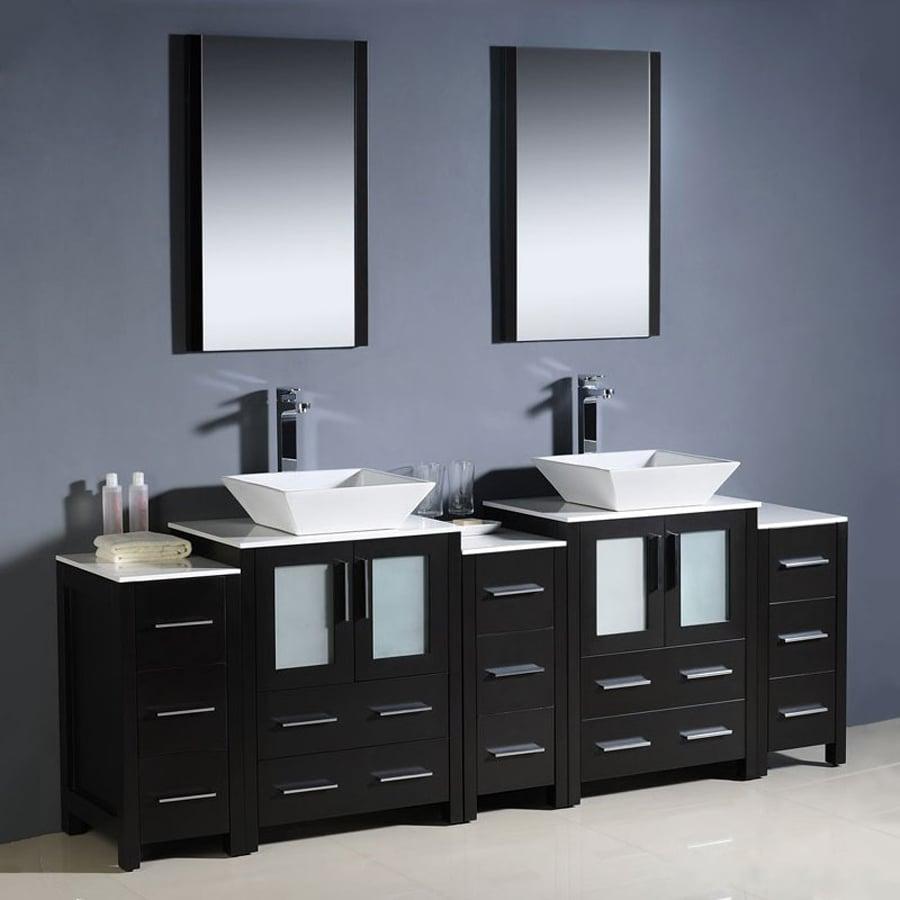 Fresca Torino Espresso Double Vessel Sink Bathroom Vanity with Ceramic Top (Common: 36-in x 18-in; Actual: 84-in x 18.13-in)