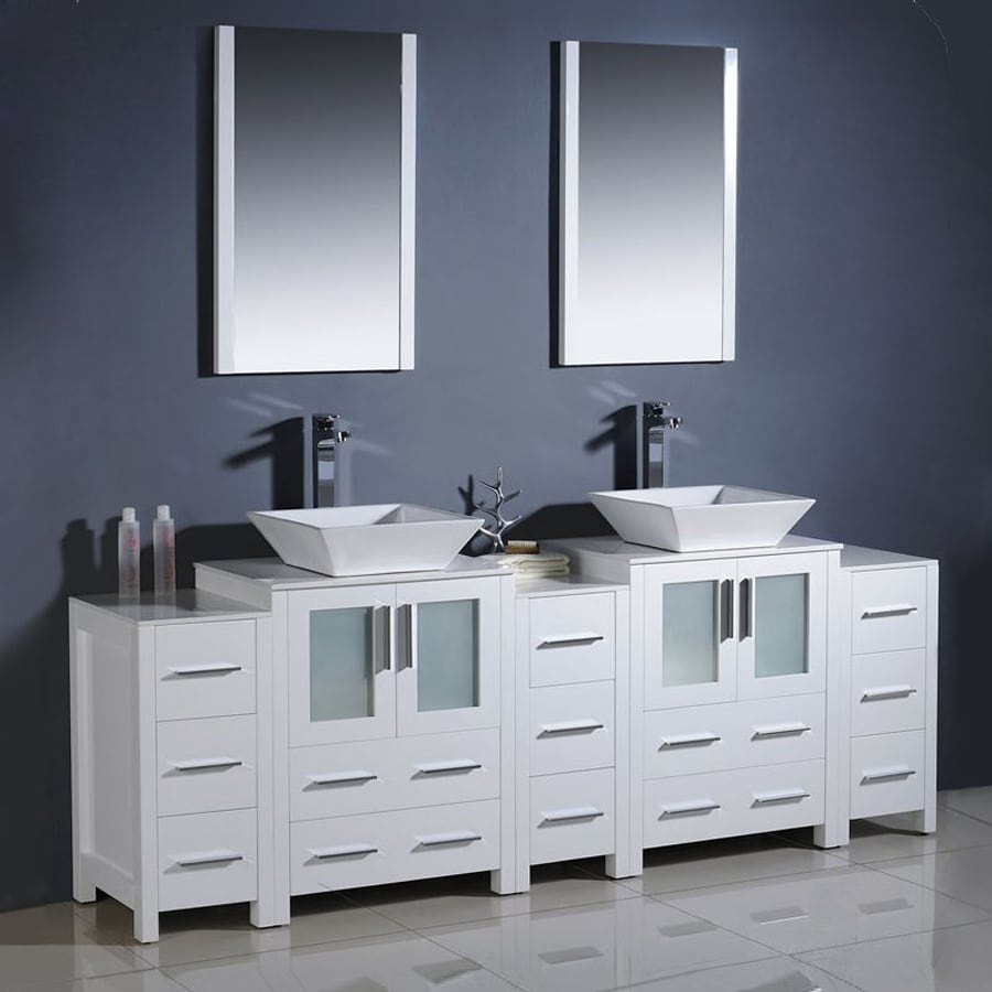 Fresca Bari White Double Vessel Sink Bathroom Vanity With Ceramic Top  (Common: 36-