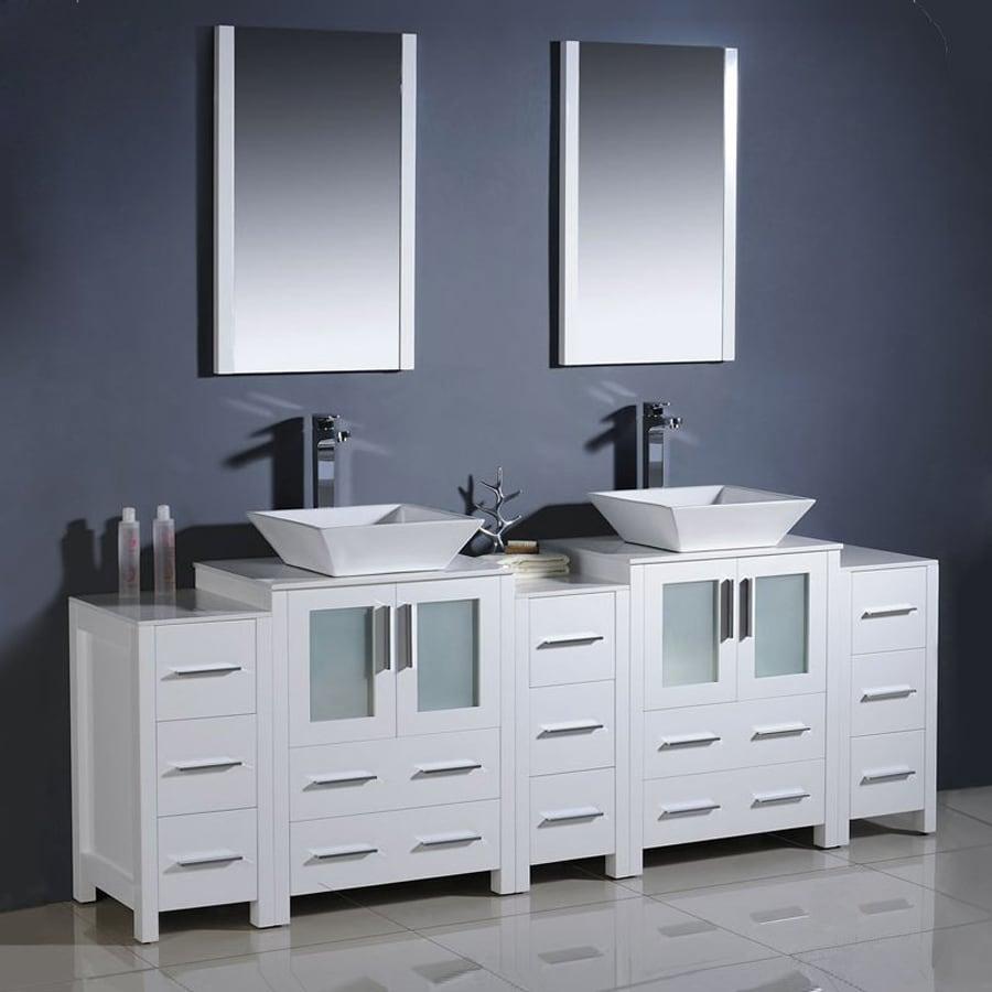 Shop Fresca Torino White Double Sink Vanity With White