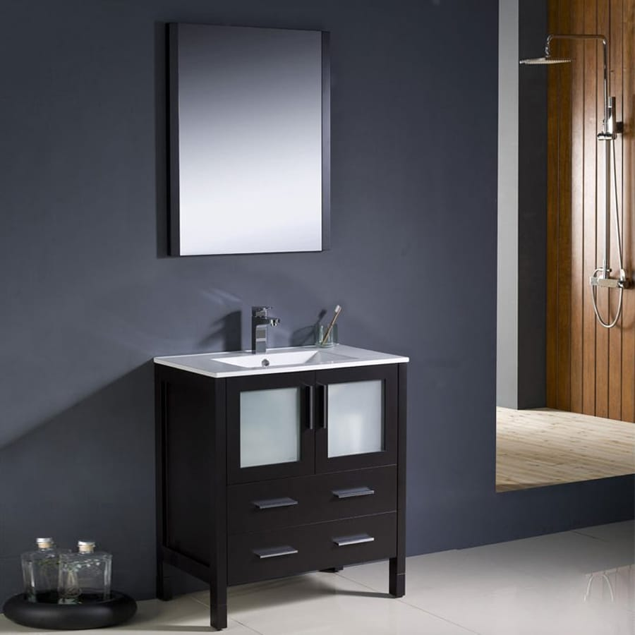 Fresca Bari Espresso (Common: 30-in x 18-in) Undermount Single Sink Bathroom Vanity with Ceramic Top (Faucet and Mirror Included) (Actual: 30-in x 18.13-in)