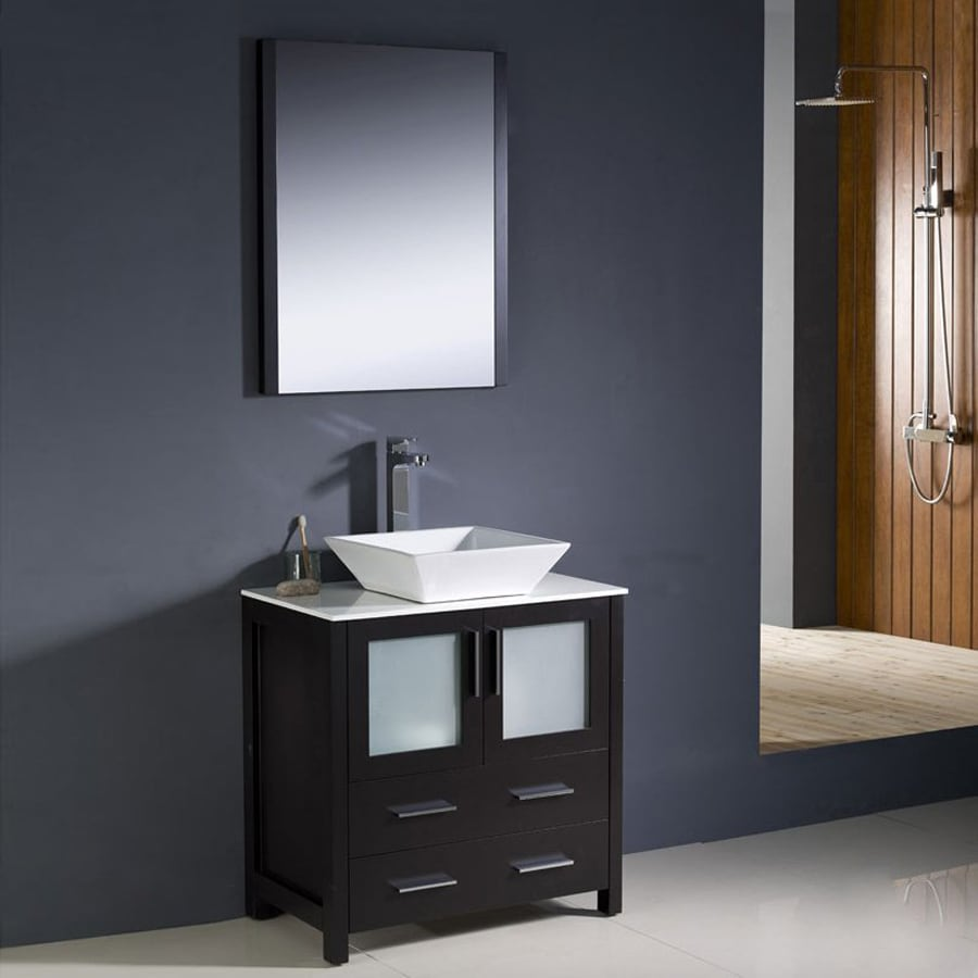 Fresca Torino Espresso Vessel Single Sink Bathroom Vanity With Ceramic Top  (Common: 30