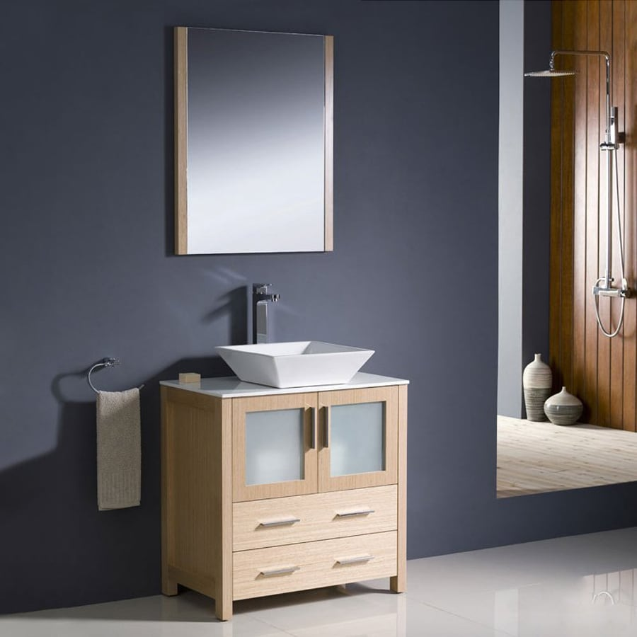 Fresca Bari Light Oak (Common: 30-in x 18-in) Vessel Single Sink Bathroom Vanity with Ceramic Top (Faucet and Mirror Included) (Actual: 30-in x 18.13-in)