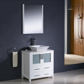 Fresca Torino White Single Sink Vanity With White Ceramic Top (Common: 30 In