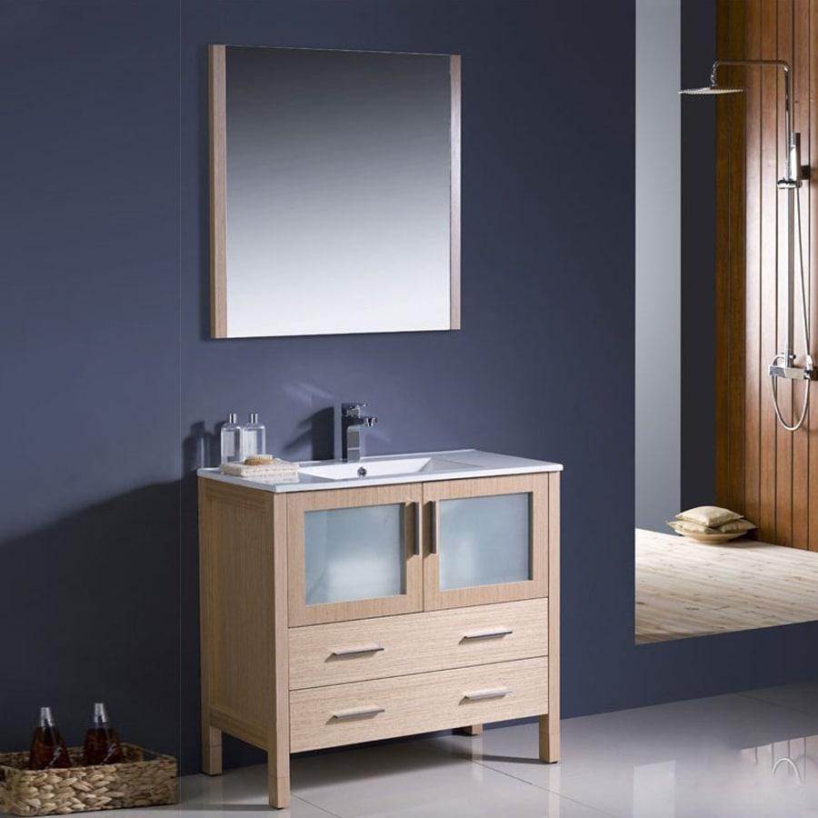 Fresca Bari Light Oak Undermount Single Sink Bathroom Vanity with Ceramic Top (Common: 36-in x 18-in; Actual: 35.75-in x 18.13-in)