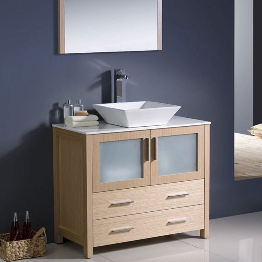 Shop Fresca Bari Light Oak Single Vessel Sink Bathroom Vanity with Ceramic Top (Common: 36-inx...