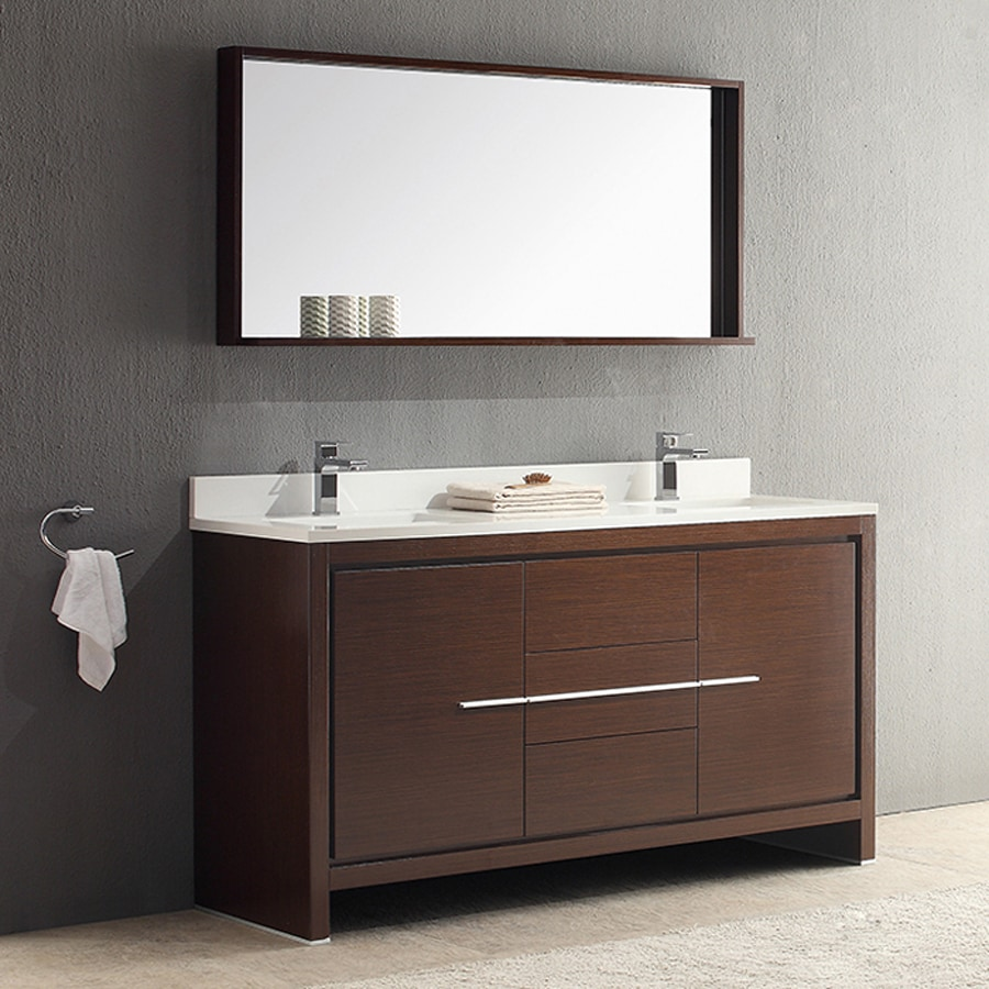 Fresca Trieste Wenge Brown 60-in Undermount Double Sink Bathroom Vanity with Ceramic Top (Faucet and Mirror Included)