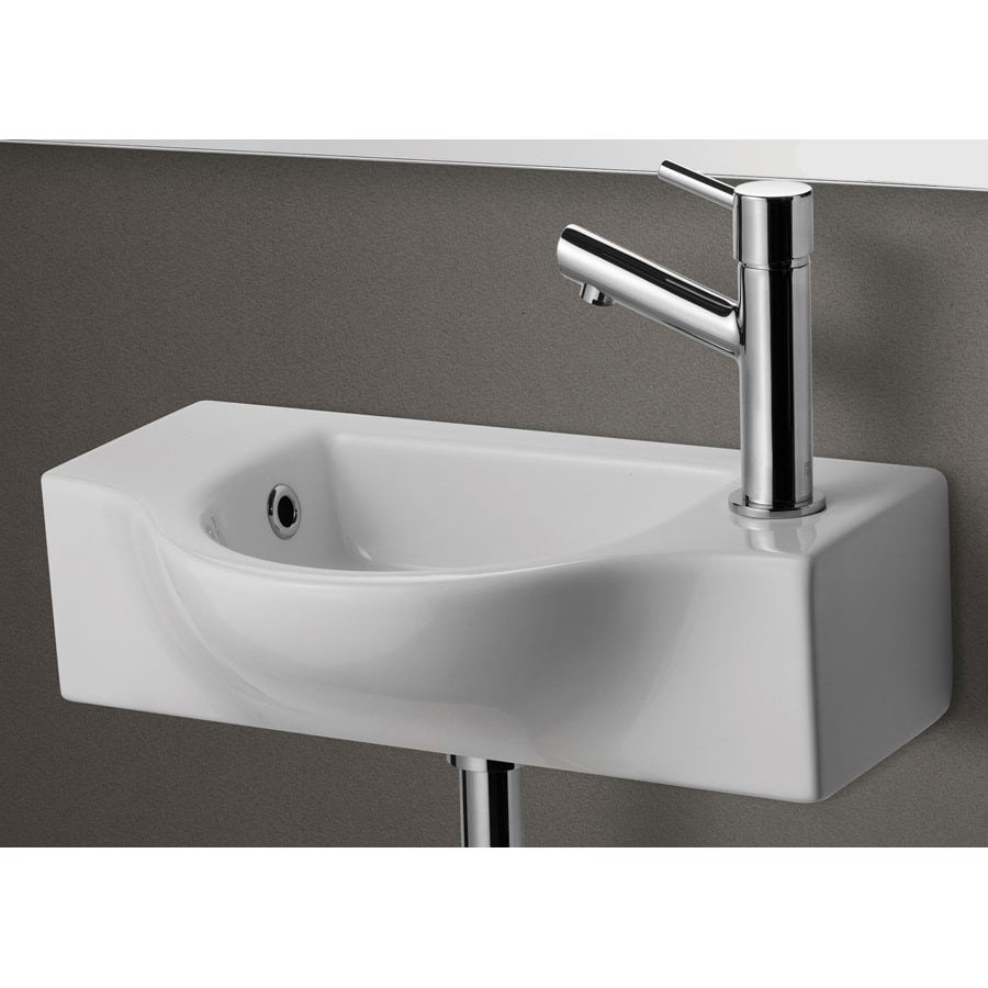 Alfi White Porcelain Wall-Mount Rectangular Bathroom Sink with Overflow