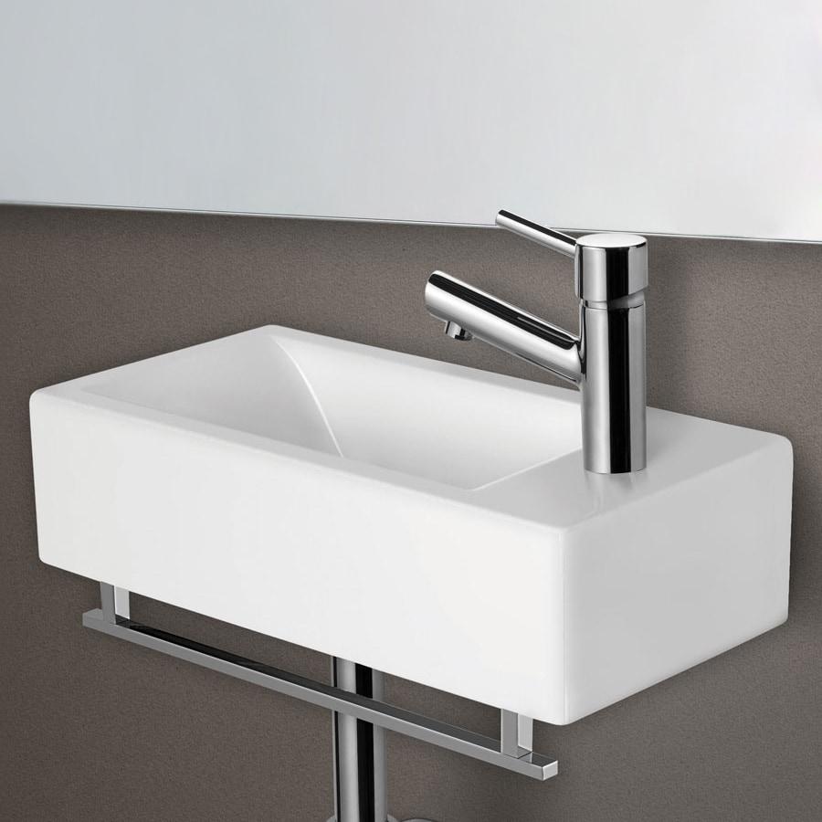 Small wall mounted bathroom sinks - Alfi White Porcelain Wall Mount Rectangular Bathroom Sink