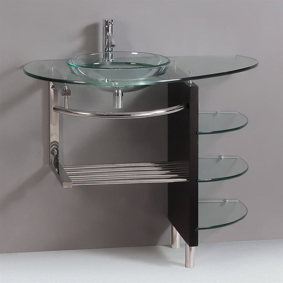 Kokols Usa Clear Single Sink Vanity With Clear Tempered Glass And