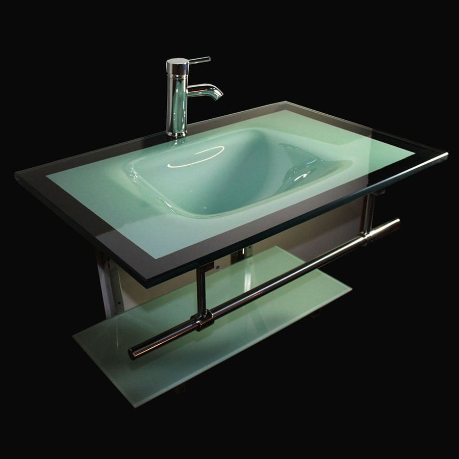 Kokols USA Aqua Green Integrated Single Sink Bathroom Vanity with Tempered Glass and Glass Top (Common: 31-in x 21-in; Actual: 31-in x 21-in)