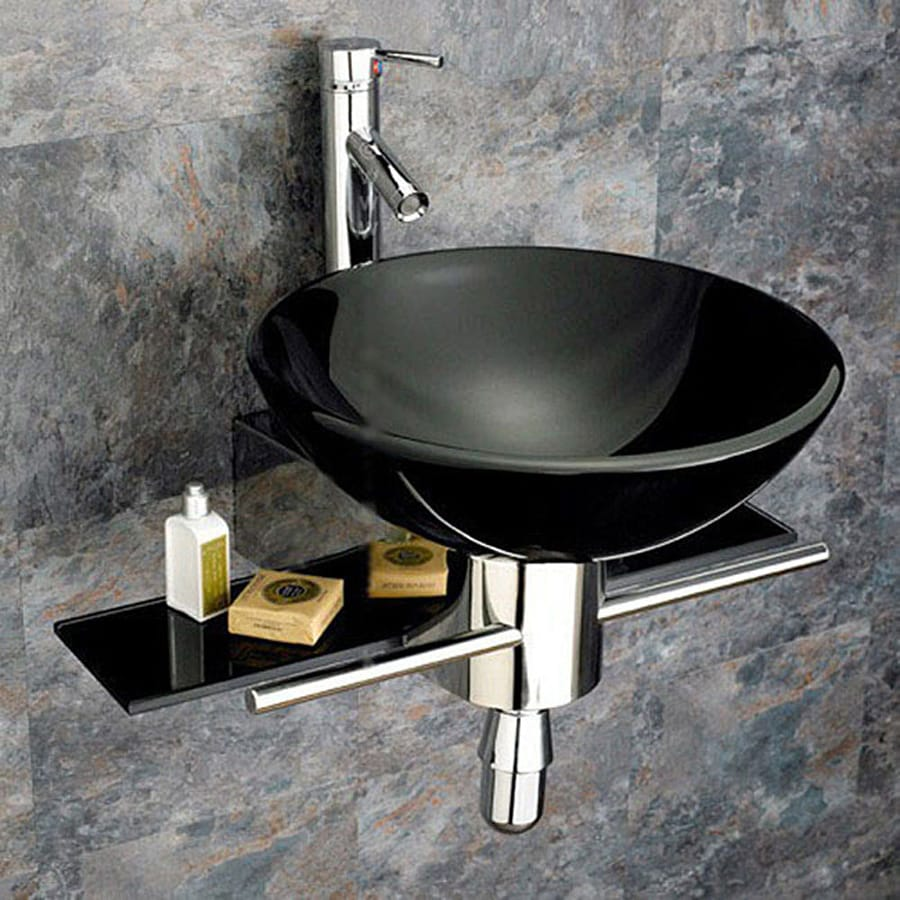 Kokols USA Black Single Vessel Sink Bathroom Vanity with Tempered Glass and Glass Top (Common: 22-in x 22-in; Actual: 22-in x 22-in)