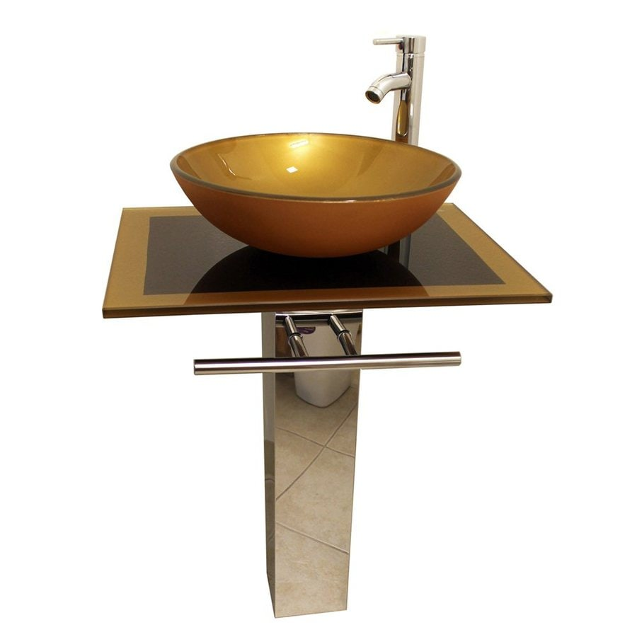 Kokols USA Mustard Gold Vessel Single Sink Bathroom Vanity With Tempered  Glass And Glass Top (