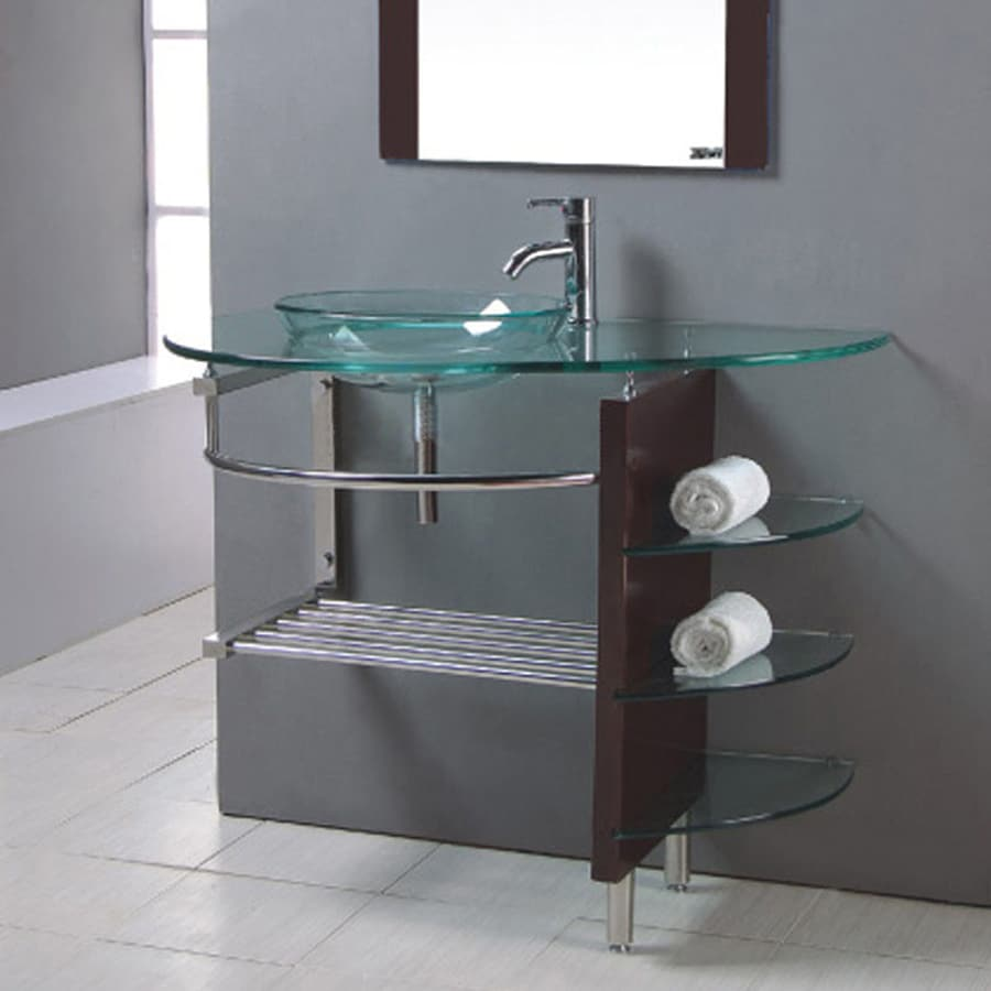 Kokols USA Clear Single Vessel Sink Bathroom Vanity With Tempered Glass And  Glass Top (Common