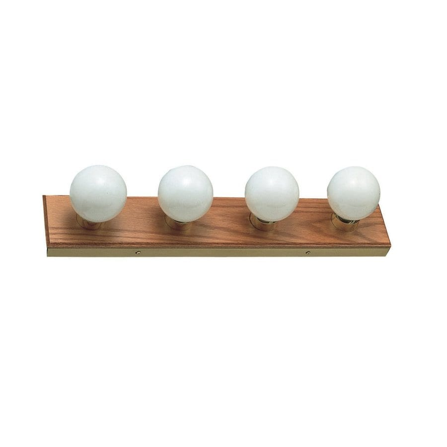 Design House The Village 4-Light 4.375-in Honey Oak Globe Vanity Light Bar