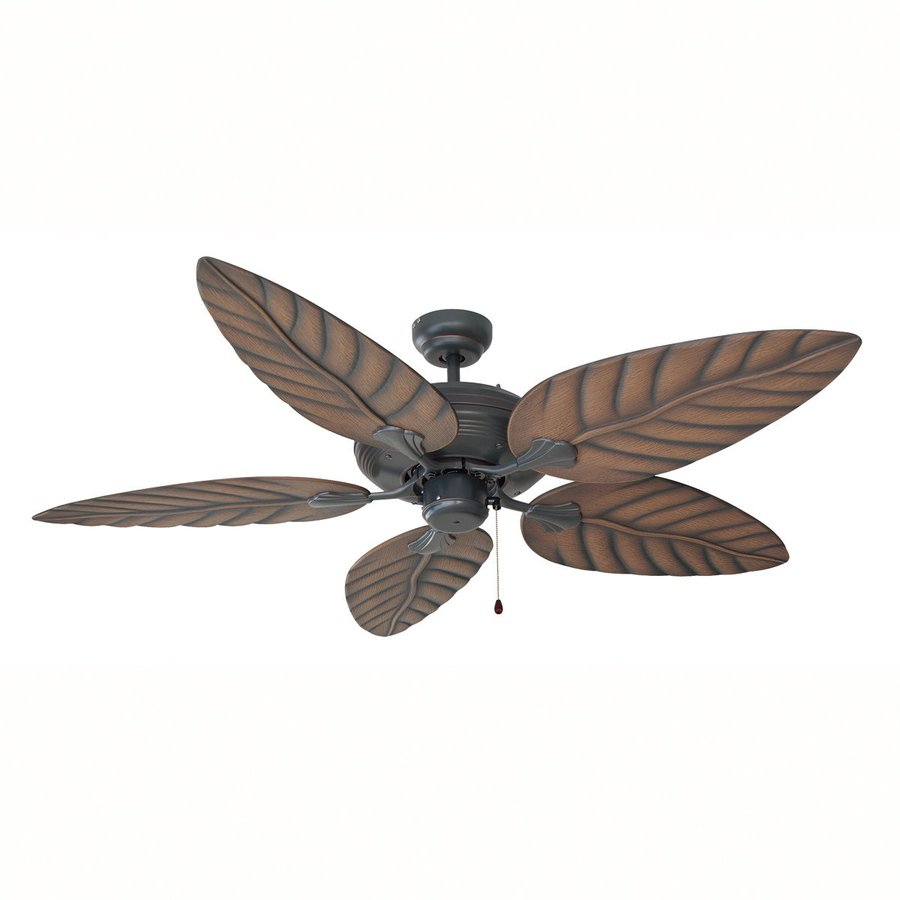Design House Martinique 52-in Oil rubbed bronze Indoor/Outdoor Downrod Mount Ceiling Fan and Remote