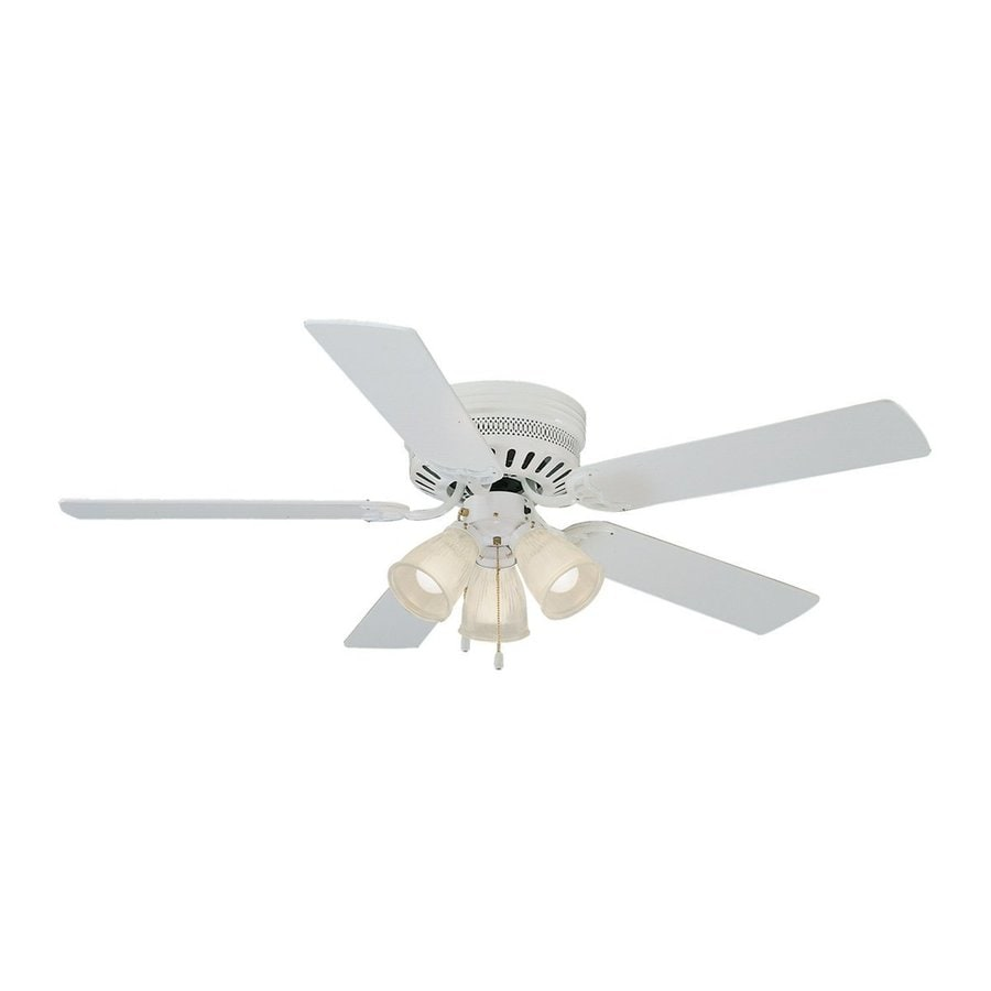 Design House Homestead 52 In White Indoor Flush Mount Ceiling Fan With Light Kit
