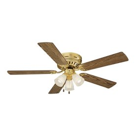 Shop homestead ceiling fans at lowes design house homestead 52 in polished brass indoor flush mount ceiling fan with light kit aloadofball Choice Image