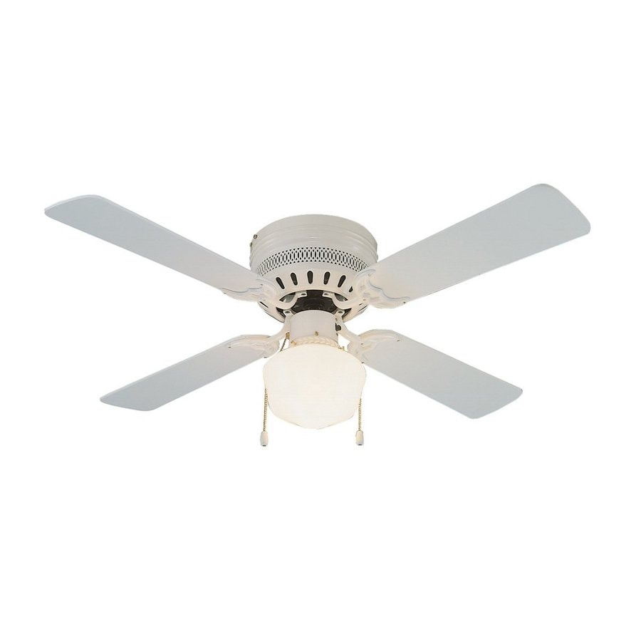 Design House Homestead 42-in White Flush Mount Indoor Ceiling Fan with Light Kit (4-Blade)
