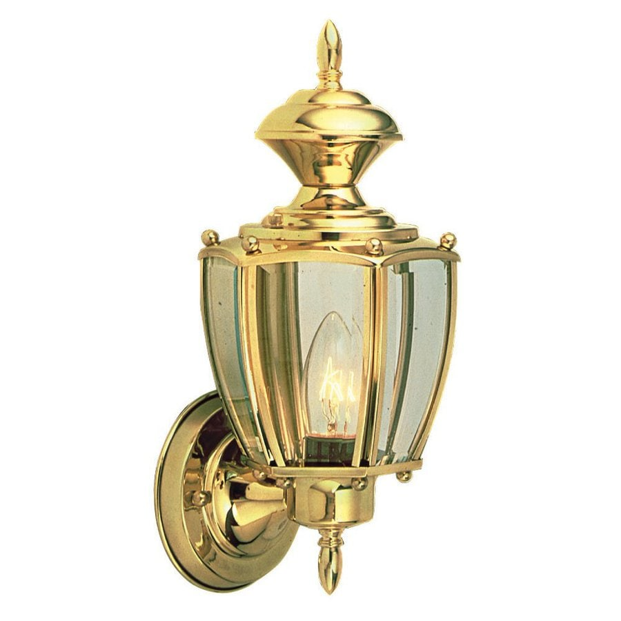 Design House Jackson 12.5-in H Polished Brass Outdoor Wall Light