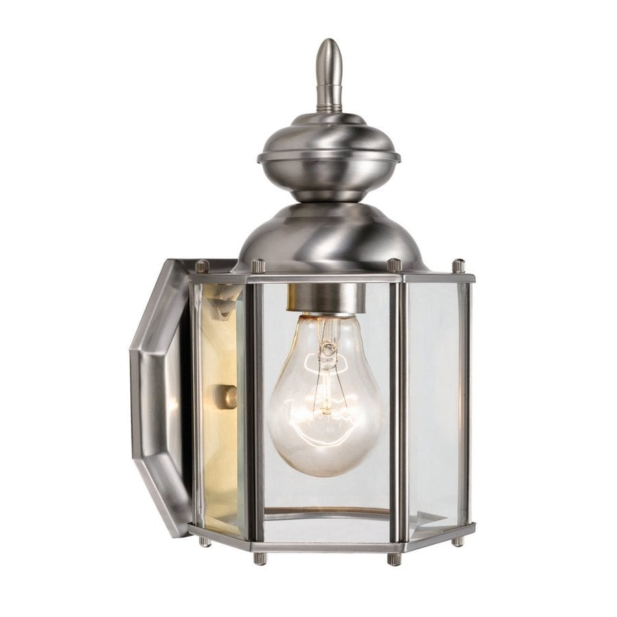 Design House Augusta 11-in H Satin Nickel Medium Base (E-26) Outdoor Wall Light