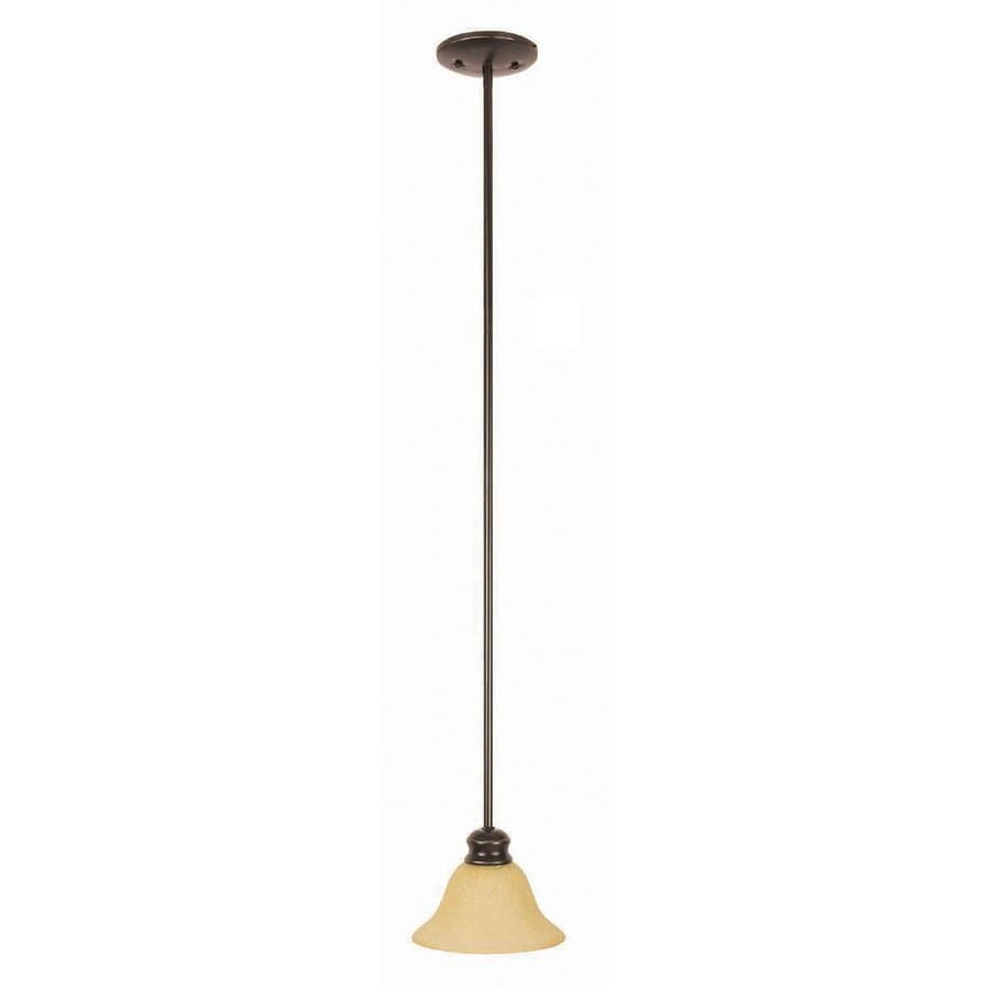 Design House Bristol 7.5-in Oil Rubbed Bronze Mediterranean Mini Tinted Glass Bell Pendant