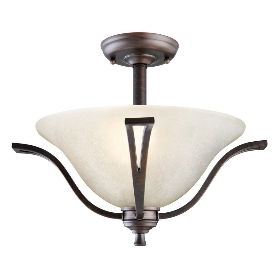 Design House Ironwood 16.75-in W Brushed Bronze Frosted Glass Semi-Flush Mount Light