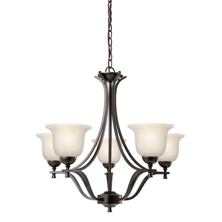 Design House Ironwood 26.75-in 5-Light Brushed Bronze Wrought Iron Shaded Chandelier
