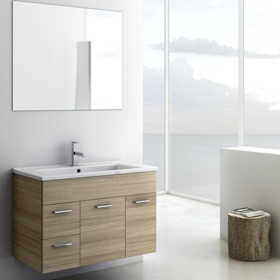 Nameeks Loren Larch Canapa 32.7-in Undermount Single Sink Bathroom Vanity with Solid Surface Top (Mirror Included)