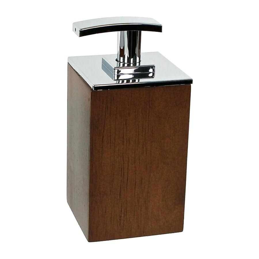 Nameeks Cubico Wood Brown Soap and Lotion Dispenser