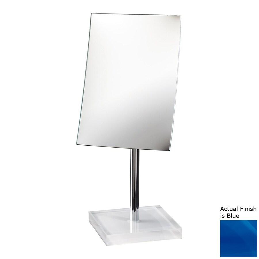 Nameeks Gedy Blue Plastic Magnifying Countertop Vanity Mirror