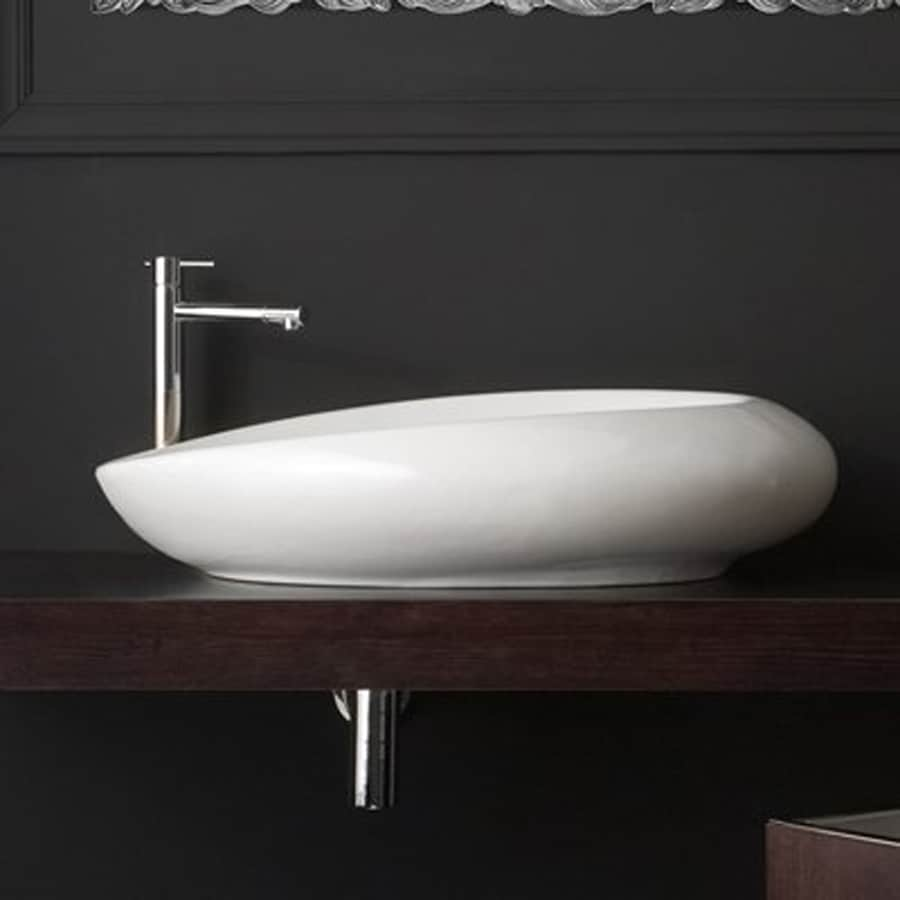 Nameeks Scarabeo Moai White Vessel Oval Bathroom Sink (Drain Included)