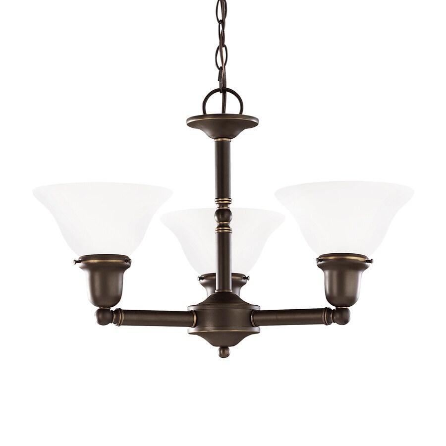 Sea Gull Lighting Sussex 22-in 3-Light Heirloom Bronze Industrial Shaded Chandelier