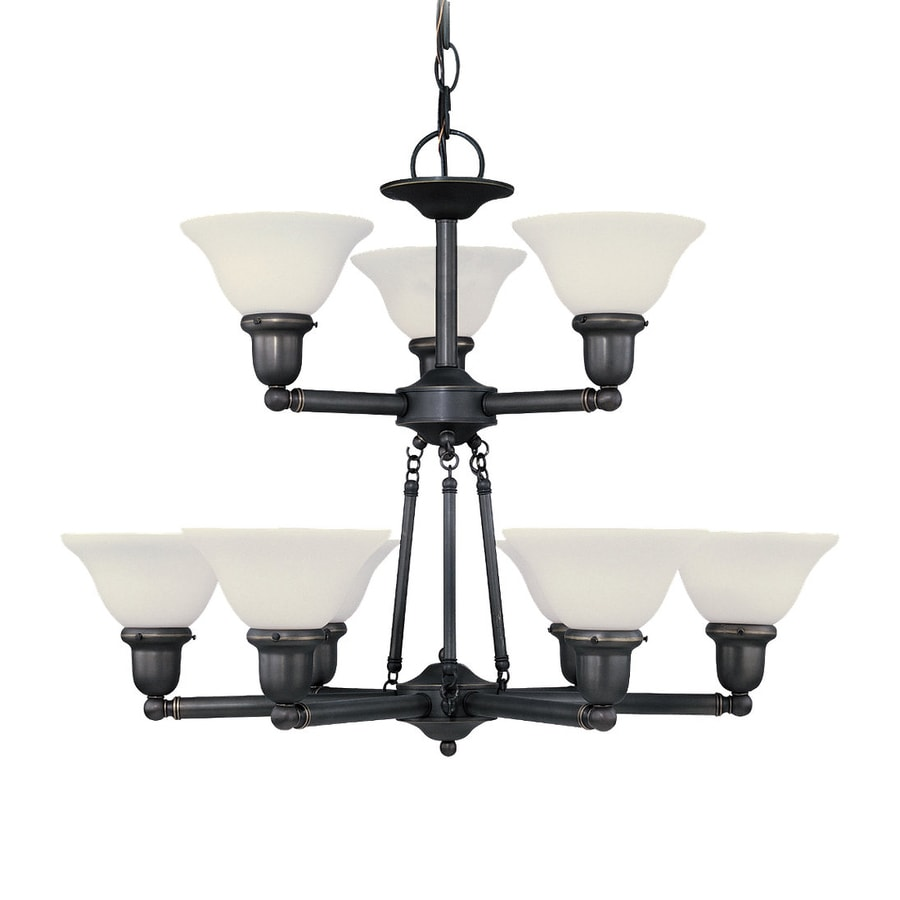 Sea Gull Lighting Sussex 30-in 9-Light Heirloom Bronze Industrial Etched Glass Tiered Chandelier