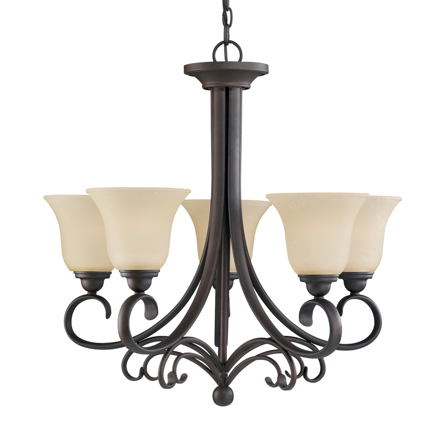 Sea Gull Lighting Del Prato 26.5-in 5-Light Chestnut Bronze Mediterranean Tinted Glass Shaded Chandelier