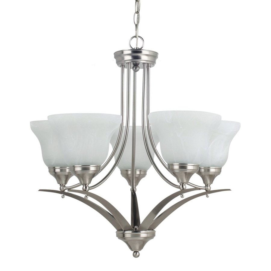 Sea Gull Lighting Brockton 24.75-in 5-Light Brushed Nickel Alabaster Glass Shaded Chandelier